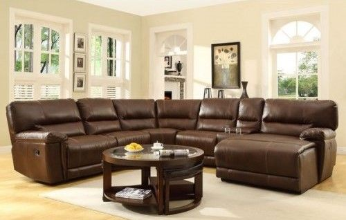 6 Pc Recliner Sectional In A Warm Brown Bonded Leather At 1898