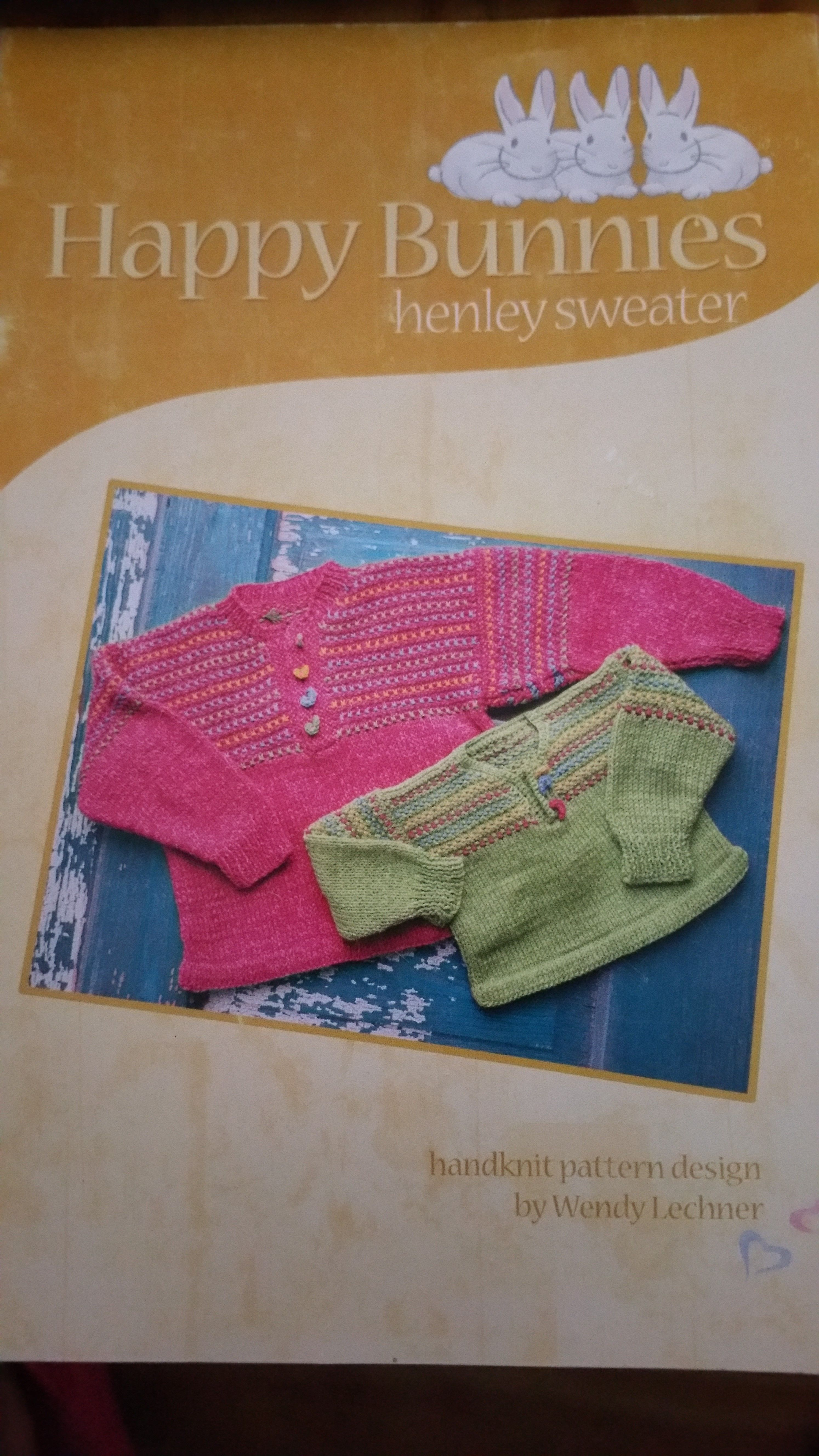 Happy Bunnies Henley Designed Sweater by the Appalachian Baby - $1.00 plus postage. Baby pattern sizes 6 to 24 months.