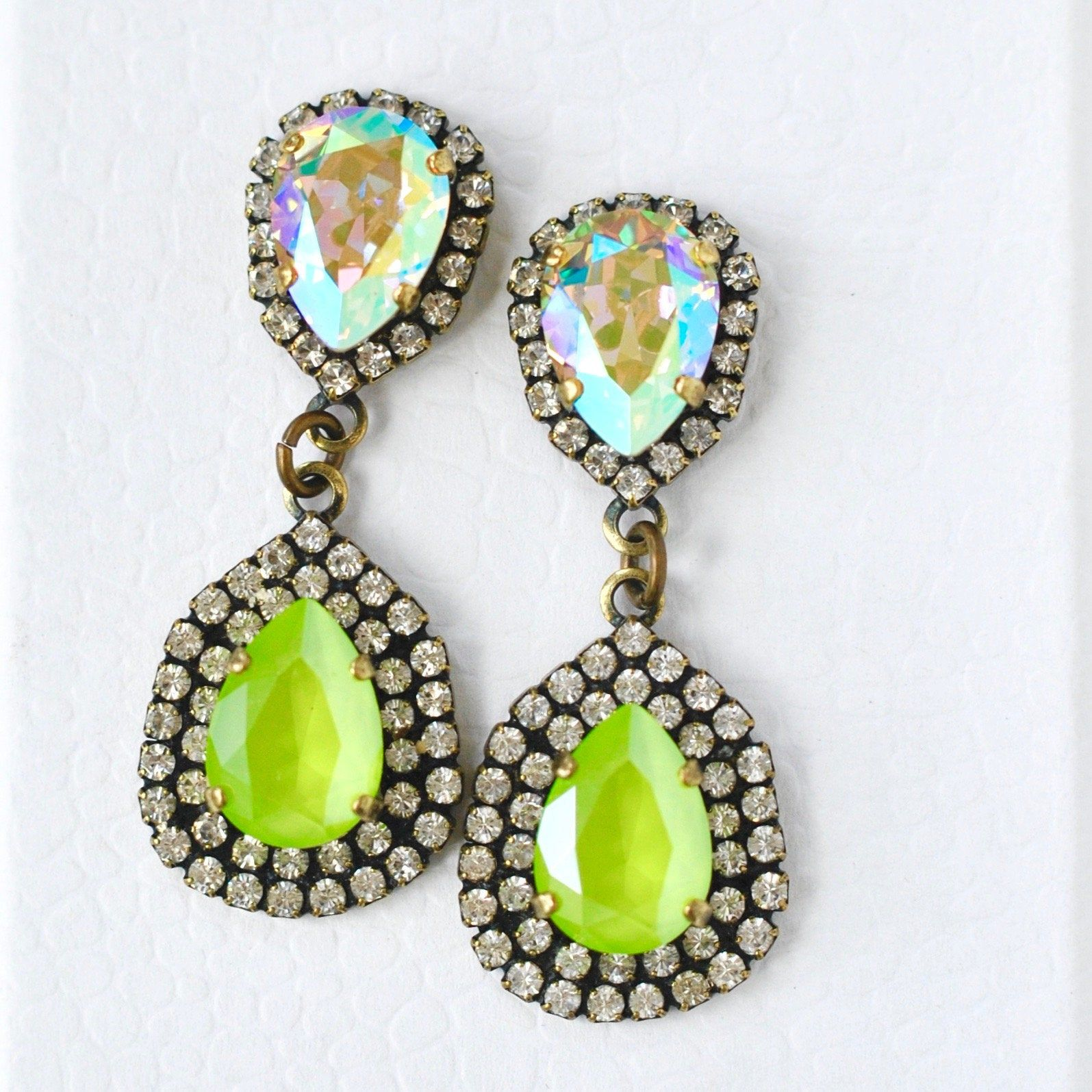 Lime Green and White Clip Dangle Earrings