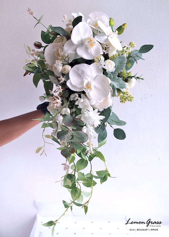 15a430a03a37f Pin by LemongrassWedding on Silk flower waterfall bouquet in 2019 ...