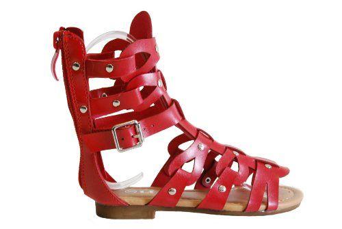 821fcc4b4052 Atta 01K Little Girls Strappy Gladiator Low Flat Heel Ankle Top Sandals (9