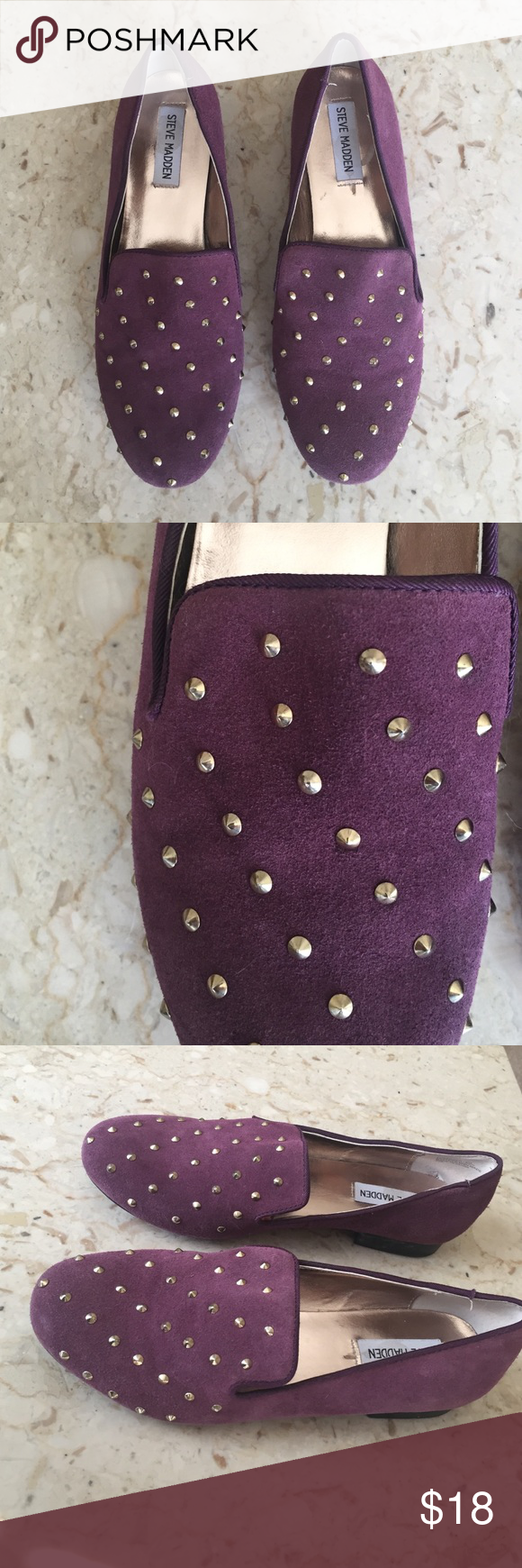 Purple Studded Steve Madden Flats Great condition! Steve Madden purple leather flats and studded detail. Priced to sell! Make an offer! 15% off 3 item bundle. Steve Madden Shoes Flats & Loafers
