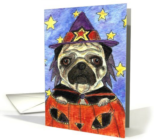 Halloween witch pug pumpkin dog trick or treat greeting card by halloween witch pug pumpkin dog trick or treat greeting card by melinda dalke m4hsunfo Choice Image