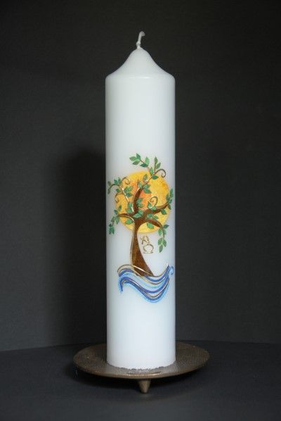 Baum Sonne Wasser Kerzen Basteln Kerzen Verzieren Osterkerzen Basteln