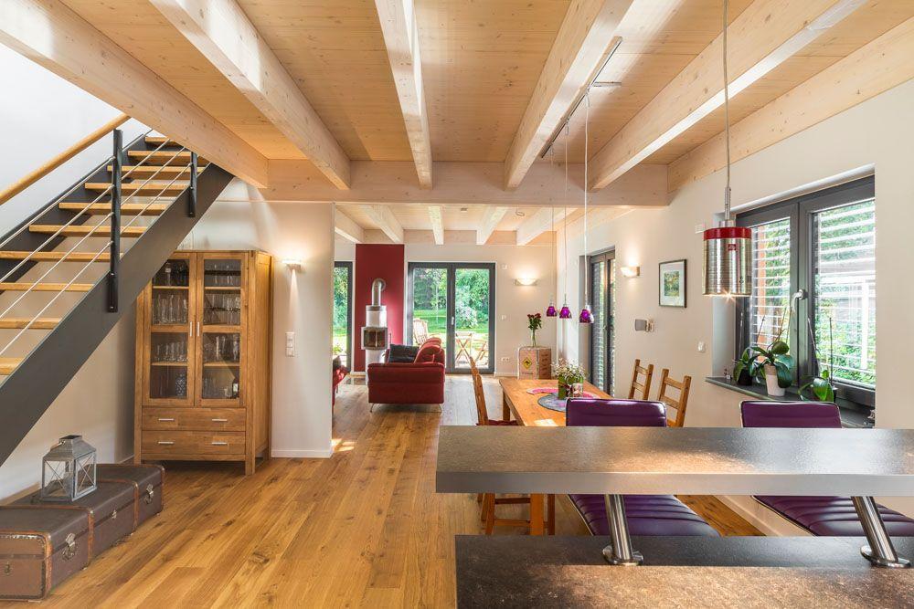 Large Living Area With An Open Wooden Ceiling In 2020 Wohnen Wohnbereich Haus Und Wohnen