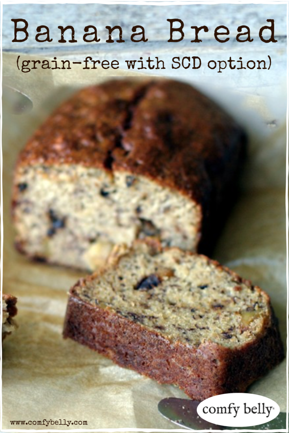 BANANA BREAD - GRAIN FREE WITH SCD OPTION . Coconut flour and almond flour work together to create the perfect grain free Banana Bread. The bread is less dense with a lighter texture but still wonderfully moist. . #comfybelly #bananabread #grainfree #scd #paleo