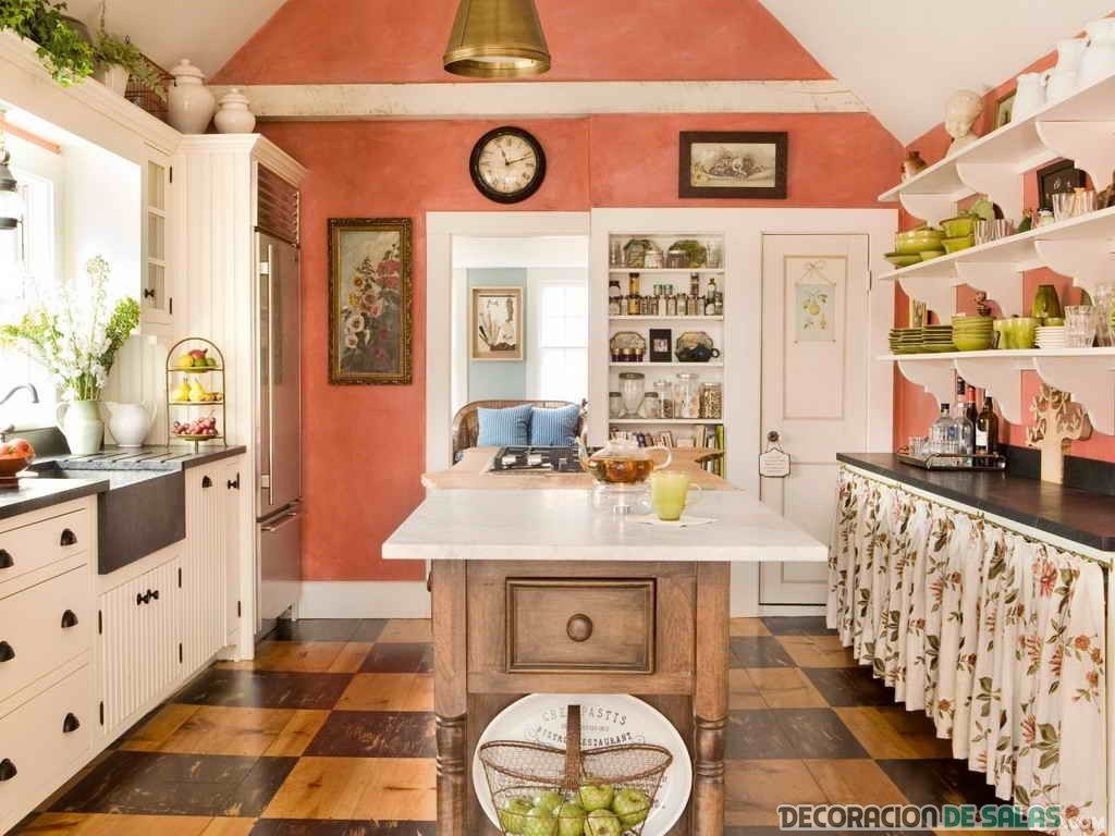 cocina con pared decorada en color coral | IDEAS DECO | Pinterest ...