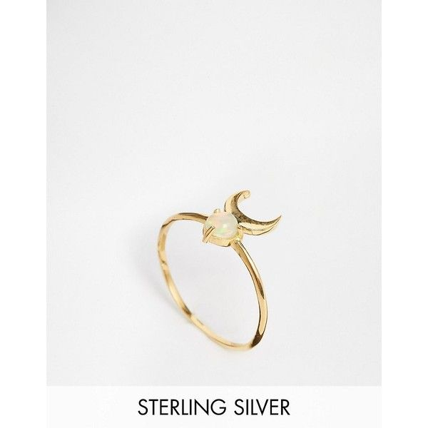 ASOS Sterling Silver Mystical Moon Stone Ring (67 BRL) ❤ liked on Polyvore featuring jewelry, rings, gold, sterling silver jewellery, sterling silver stone rings, stone jewelry, stone jewellery and asos jewelry
