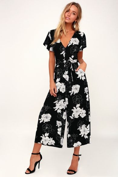 ce3dd5be68a9 North Pacific Black and White Floral Print Culotte Jumpsuit