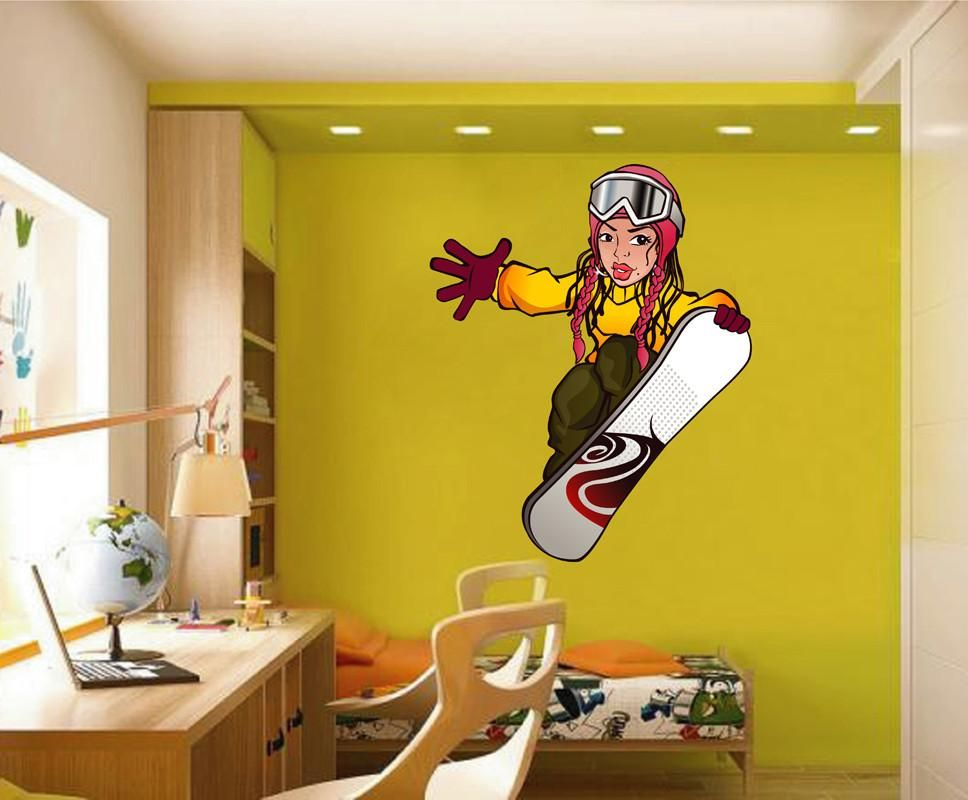 cik1422 full color wall decal girl snowboard snowboarder on wall stickers for hall id=29057