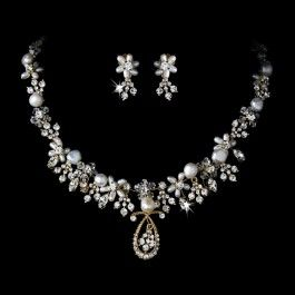 gold pearl swarovski crystal set