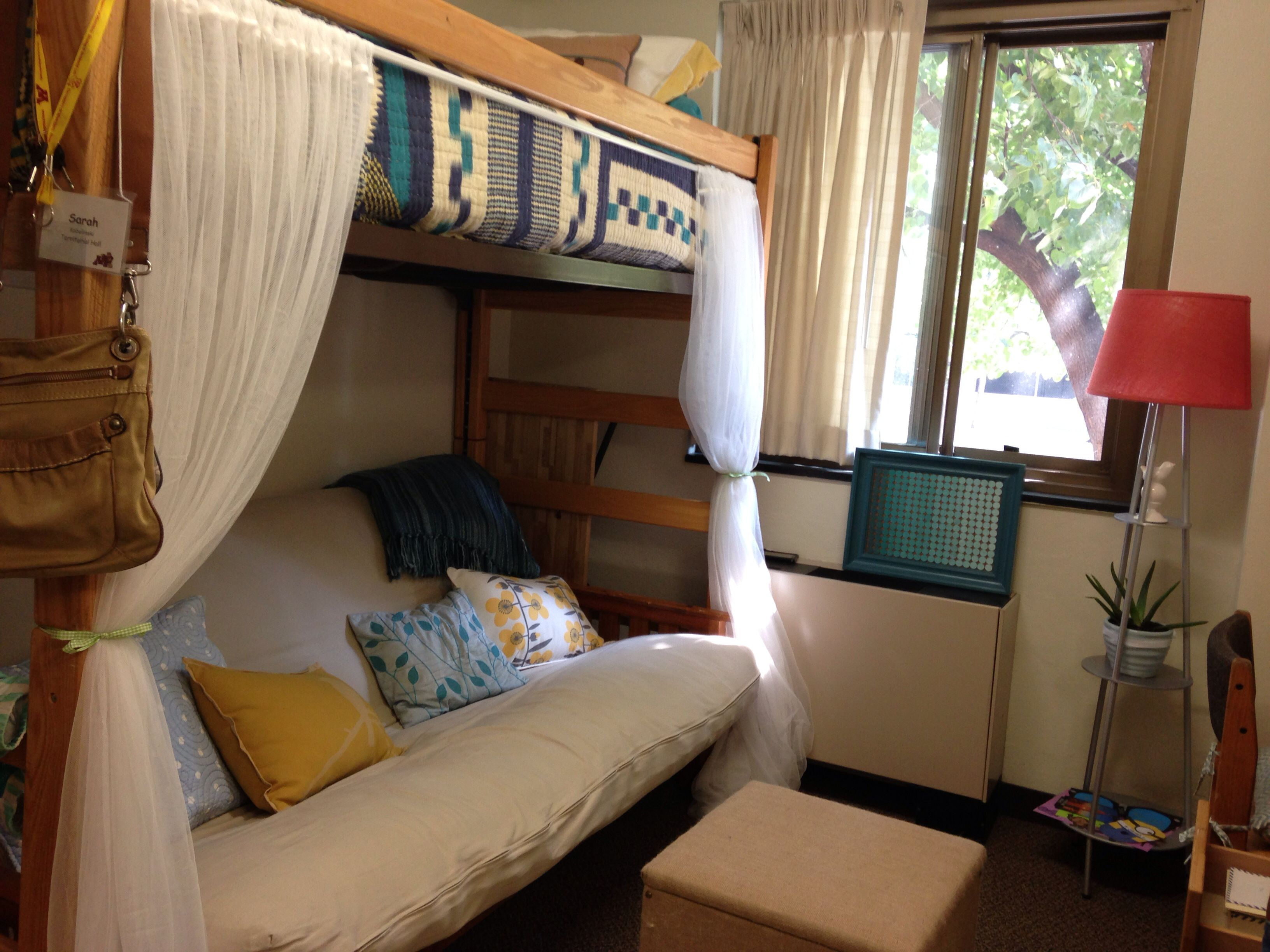 Lofted Bed With Futon Underneath Use Curtains On The To Create A Cozy E