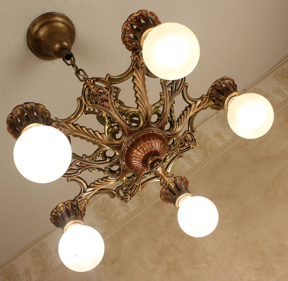 20 S Antique Vintage Victorian Art Deco Ceiling Light Fixture