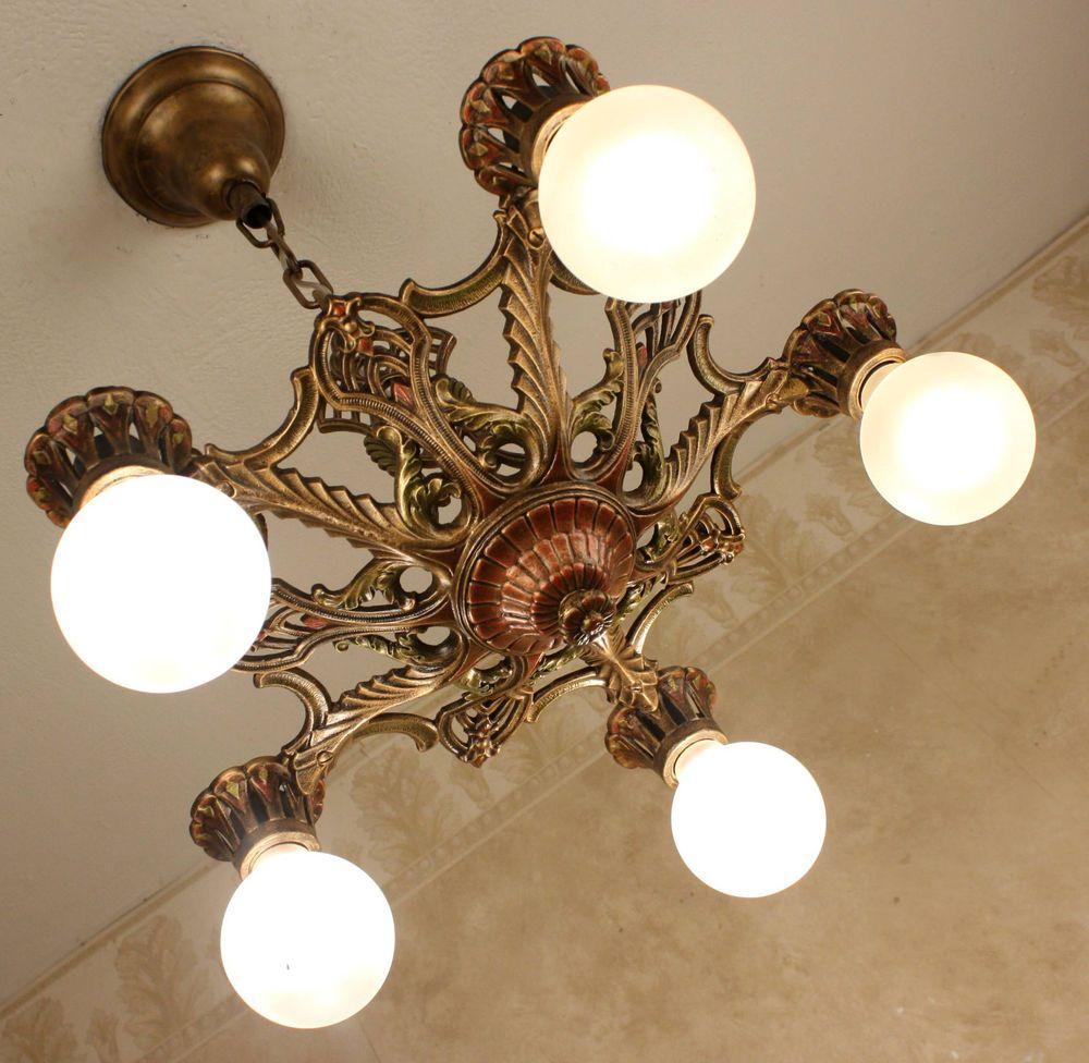 Antique 1920s Art Deco Amber Slip Shade Glass Light Fixture