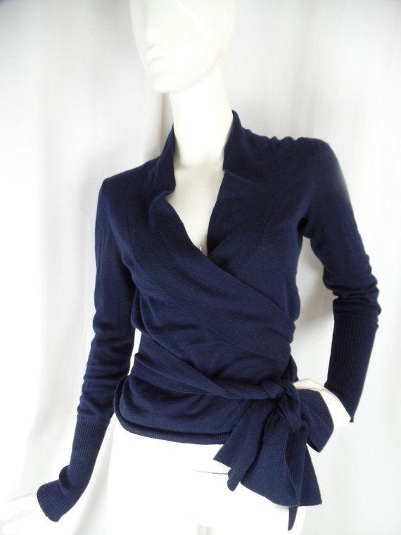 80s DVF Diane Von Furstenberg cotton linen ballerina wrap sweater ...