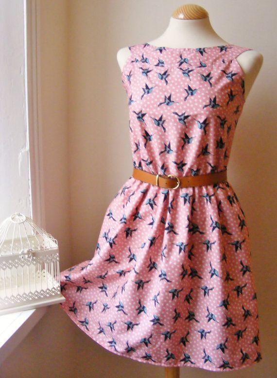 Pink Swallows Cotton Summer Dress