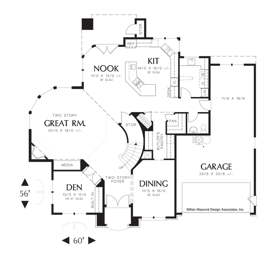 Image For Sedgwick Curved Wall Of Glass In Great Room Main Floor Plan Cottage House Plans Dream House Plans Floor Plan Design