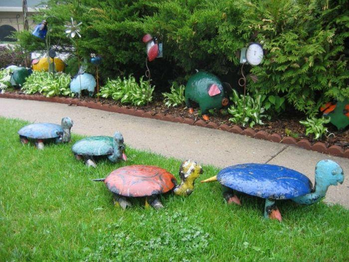gartendeko ideen gartenaccessoires schildkröten Garten - gartendeko selbst basteln