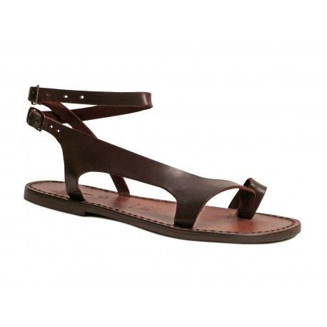 b66516637377 Riemchen-Sandalen für Damen aus braunem Leder in Italien von Hand gefertigt
