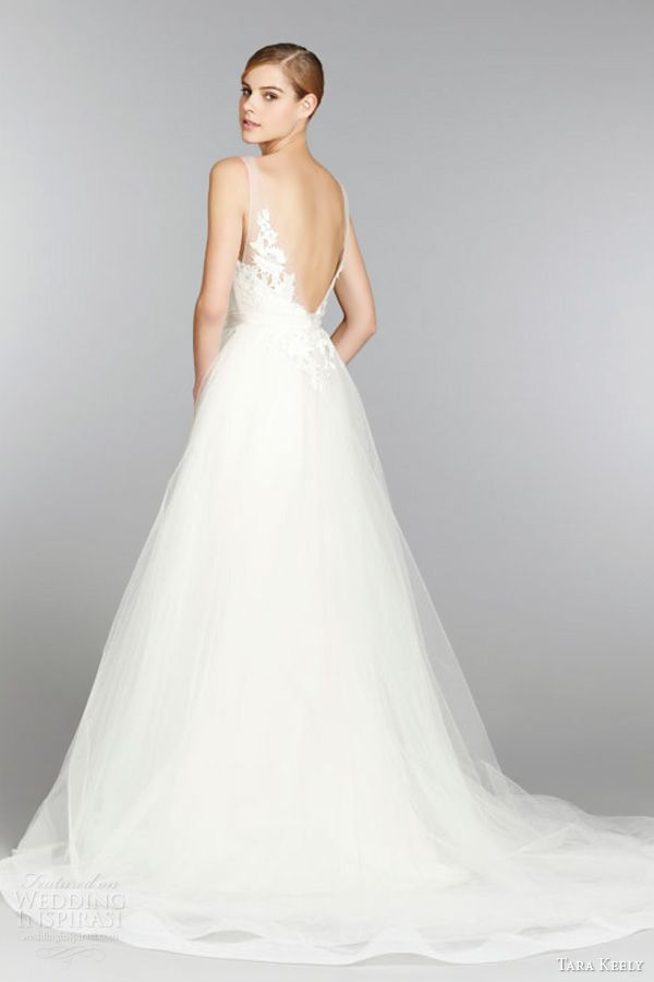 Trending Gowns tara keely bridal fall sleeveless ball gown wedding dress trumpet skirt illusion v neck lace