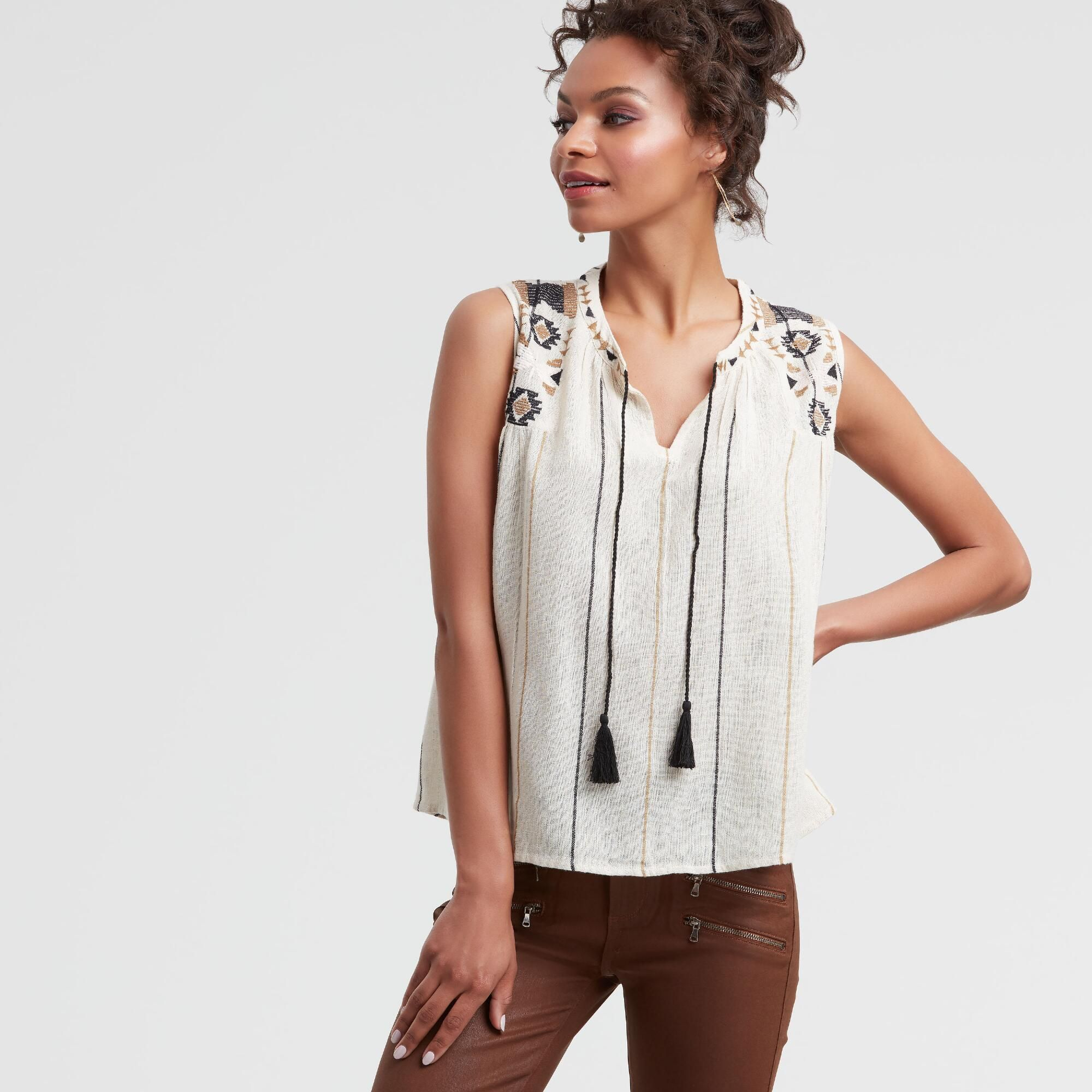b6ed404d7cc69 Ivory Embroidered Ava Tank Top  White - Lgxlg by World Market in ...