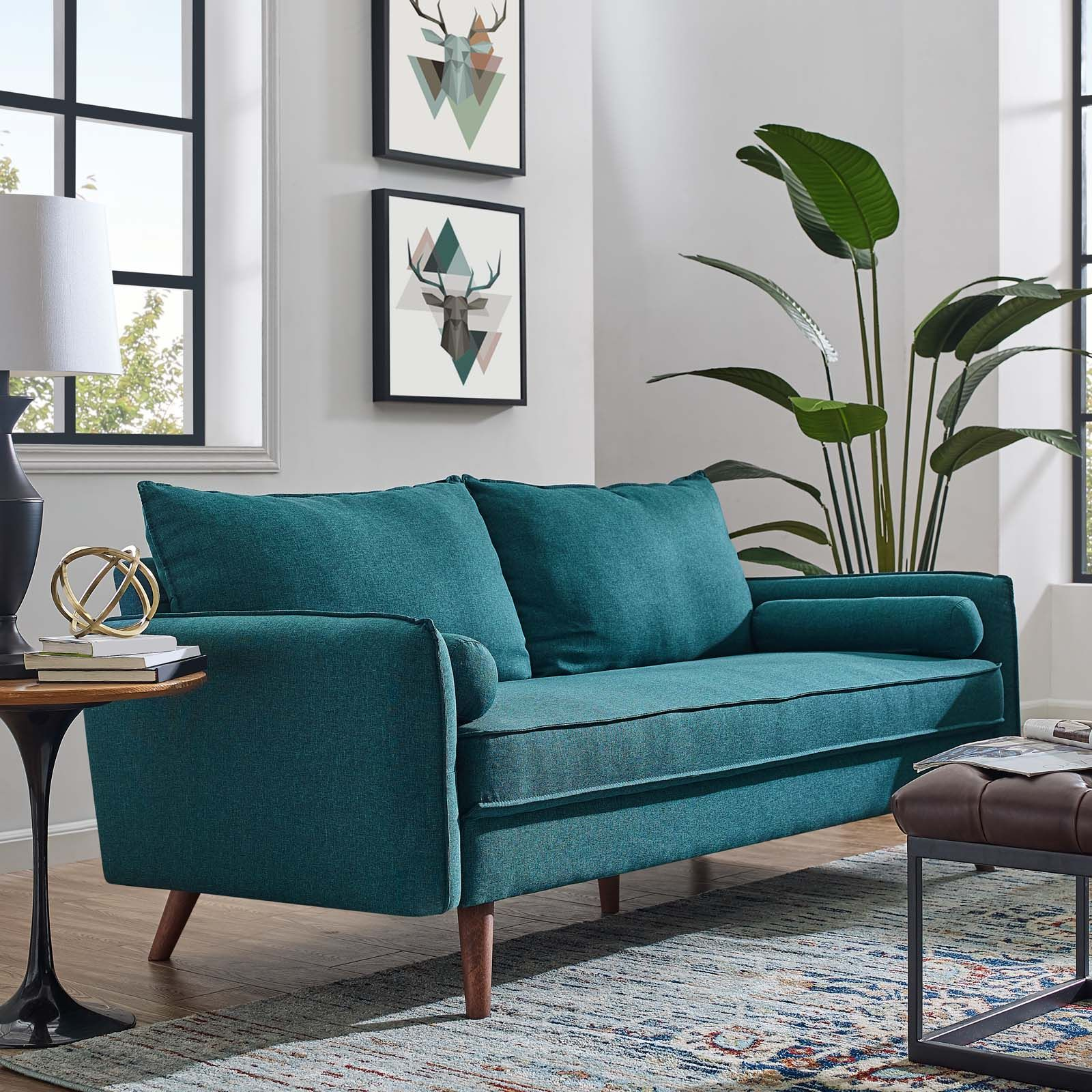 modway revive upholstered fabric sofa  teal sofa living