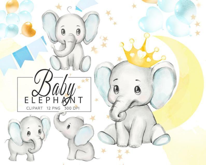Baby Elephant Clipart Watercolor Elephant Boy Baby Shower Clip Art Elephants Illustration Little Animals Clip Art Nursery Graphics Png Elephant Illustration Elephant Clip Art Watercolor Elephant