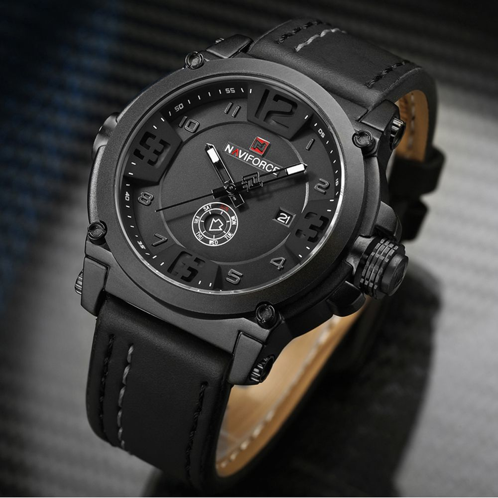 a729a7c870 NAVIFORCE Mens Watches Top Brand Luxury Sport Quartz-Watch Leather ...
