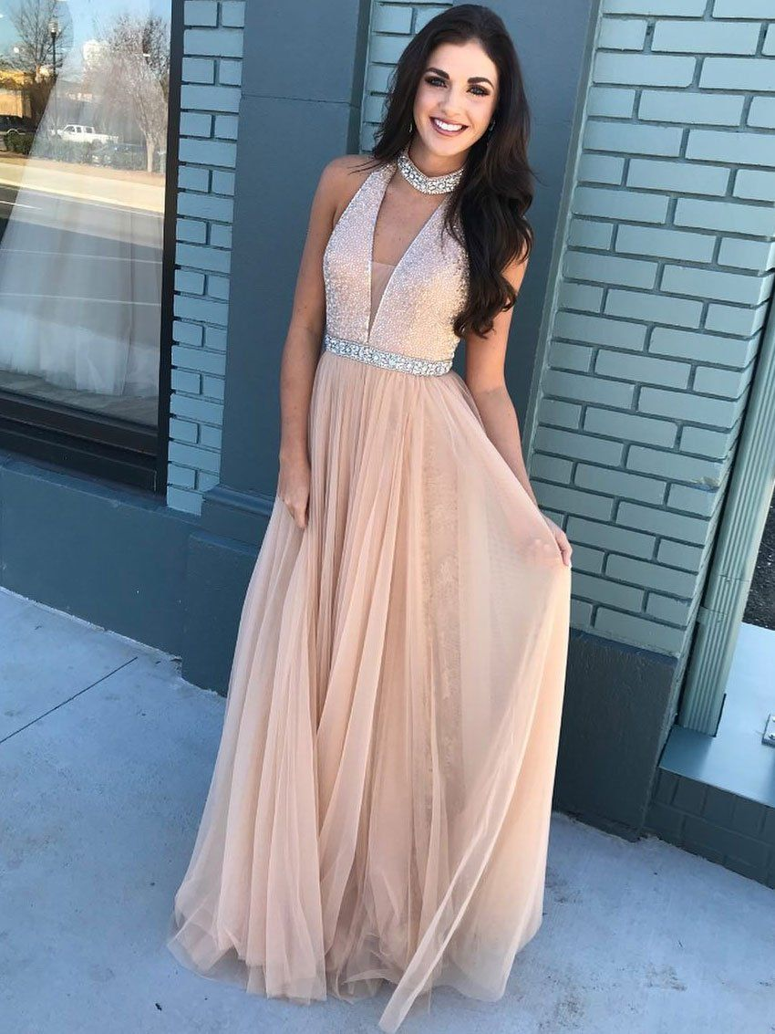 Vneck beaded bodice halter long tulle prom dressescheap pageant