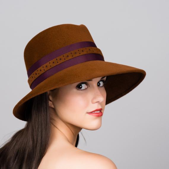 83f8d2c7cac Homburg Fedora. Womens Wide Brim Hat. Brandy Brown. Velour Fur Felt. Wired  Brim. Dotted Felt Band. P