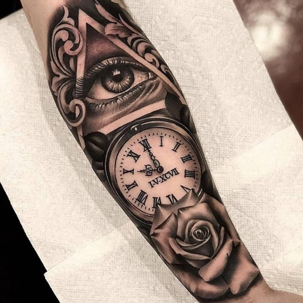 Best Tattoos By Artextattooink Alpaca Ink Pocket Watch Tattoos Watch Tattoos Clock And Rose Tattoo
