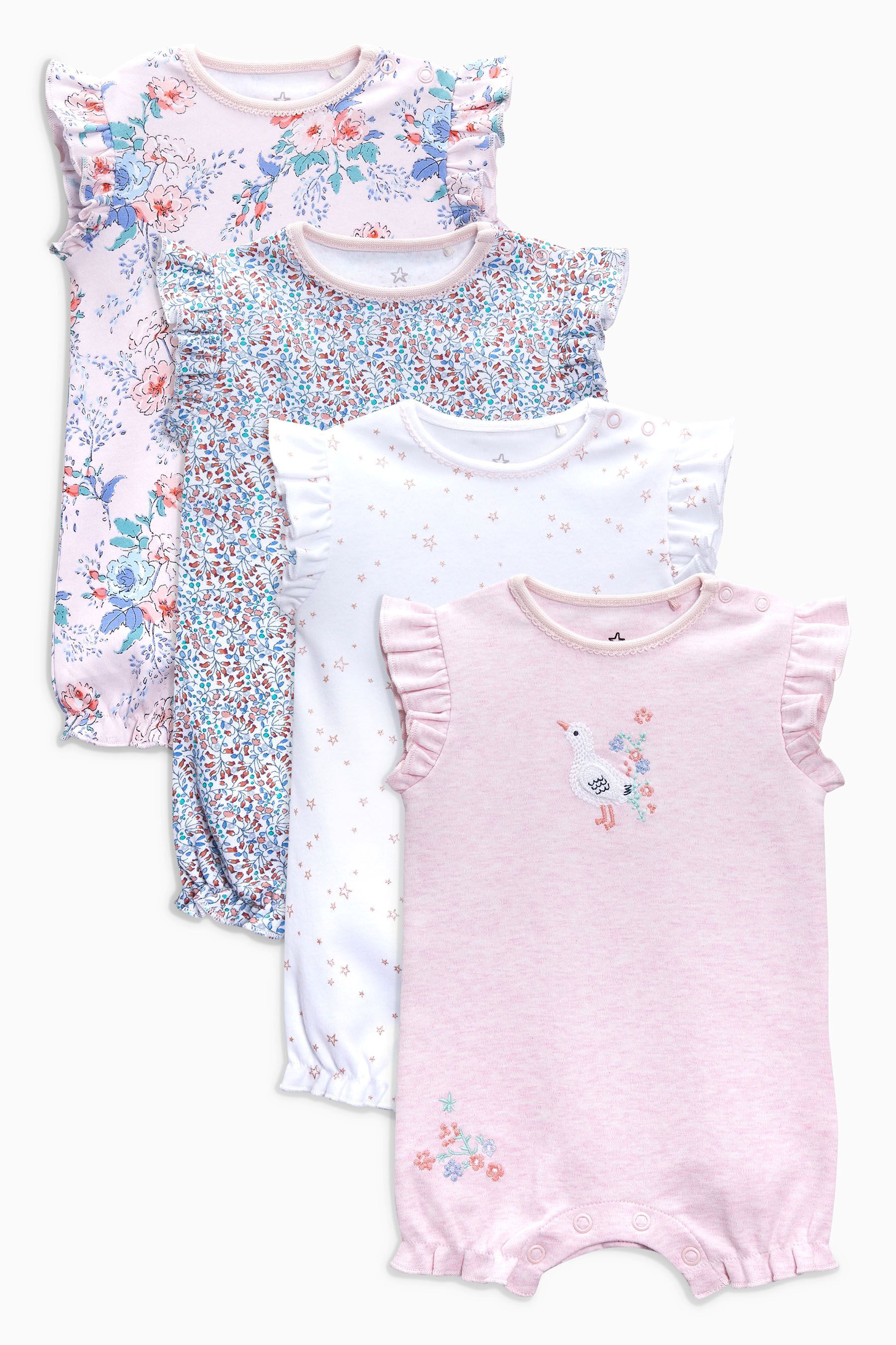 0d232d7b7bf7 Girls Next Pink White Floral Short Leg Rompers Four Pack (0mths-2yrs) - Pink