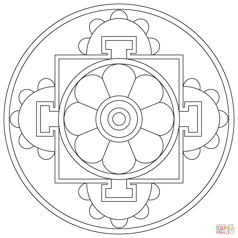Simple Tibetan Mandala Coloring Page Png 1500 1500 Tibetan Mandala Mandala Coloring Mandala Coloring Pages
