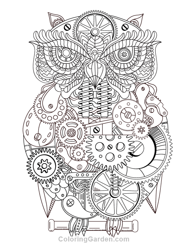 Free printable steampunk owl adult coloring page. Download it in PDF ...