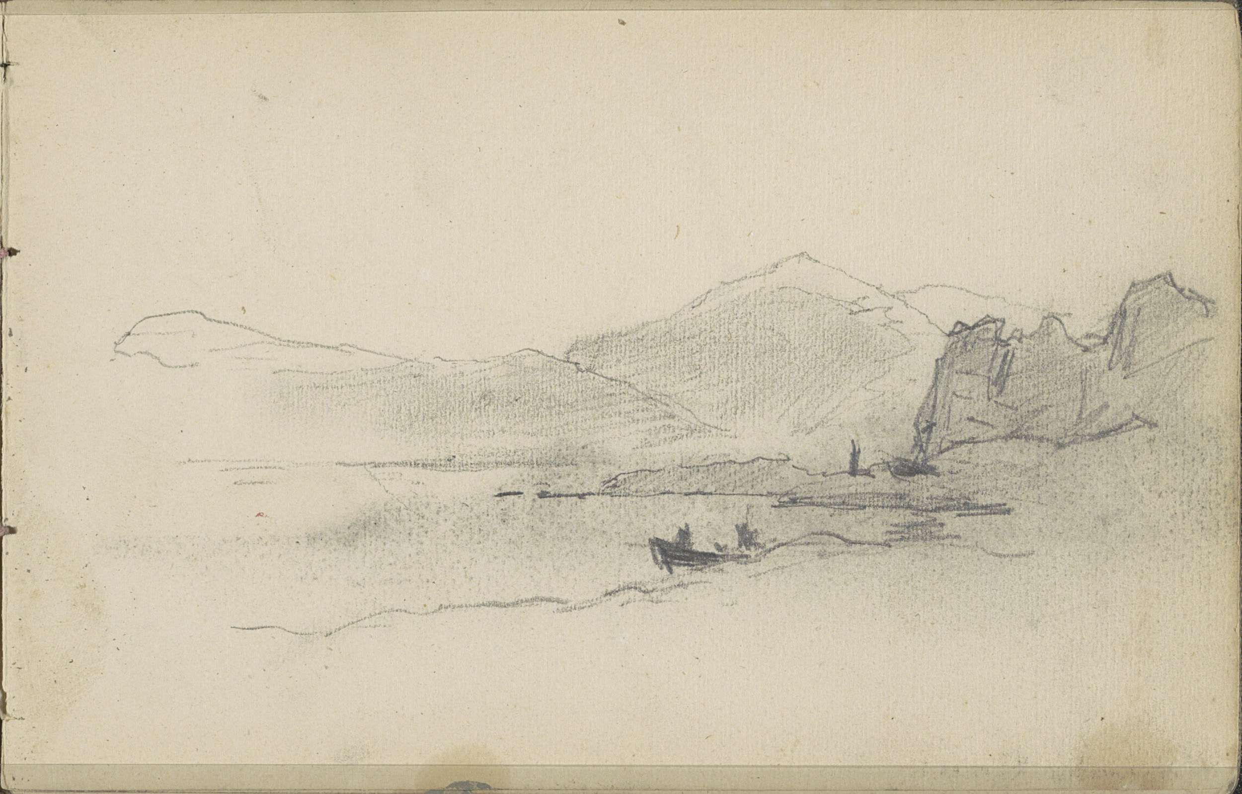 Louis Apol | Gezicht op de kustlijn van Nova Zembla, Louis Apol, 1880 | In de branding een bemande roeiboot. Blad 28 recto uit een schetsboek met 35 bladen betekend tijdens de expeditie naar Nova Zembla in 1880.