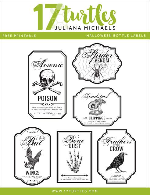 Halloween Apothecary Bottle Labels Free Printable by Juliana - halloween michaels