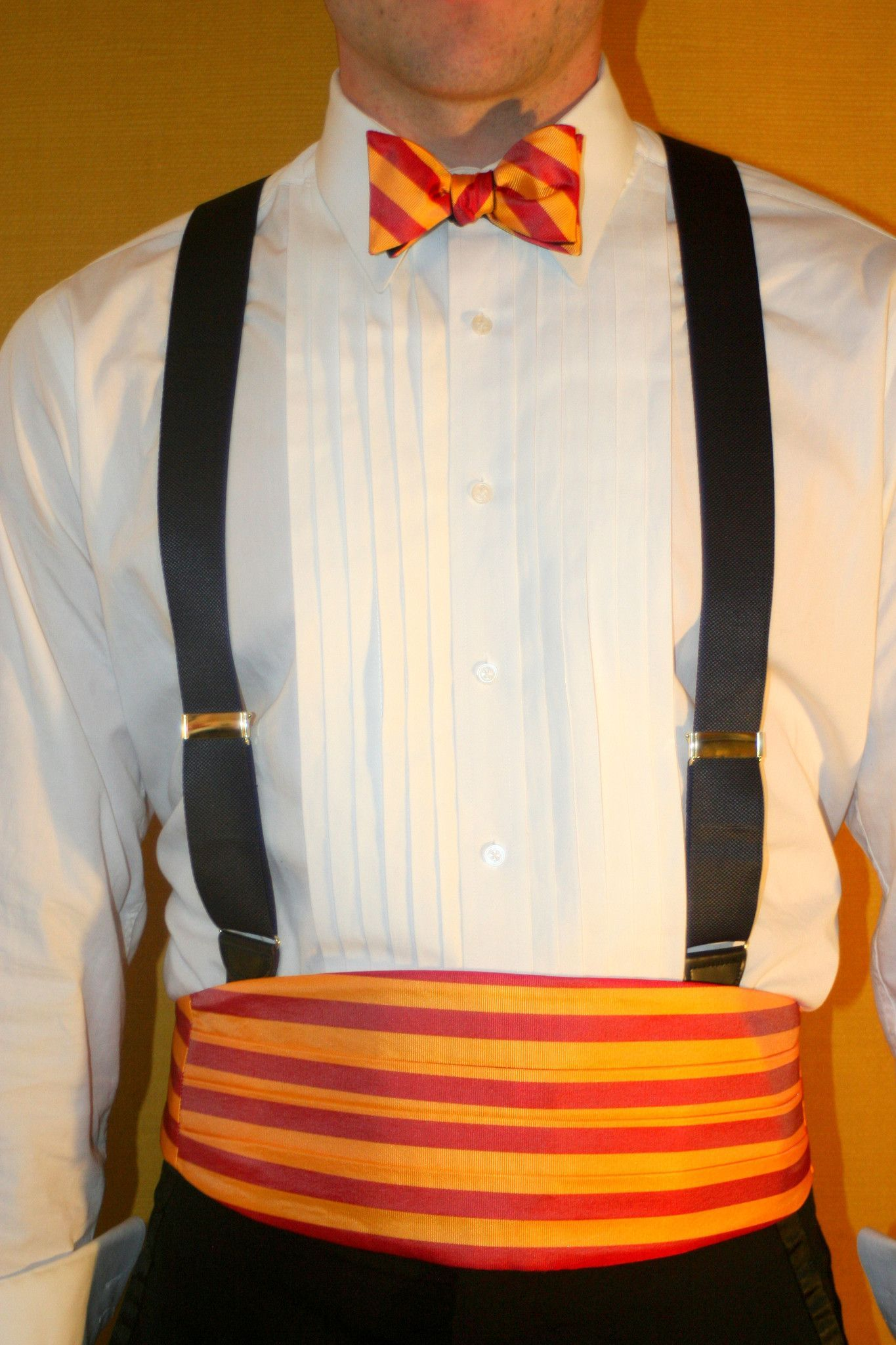 English Silk Repp Cummerbund And Bow Tie Set Bright Gold