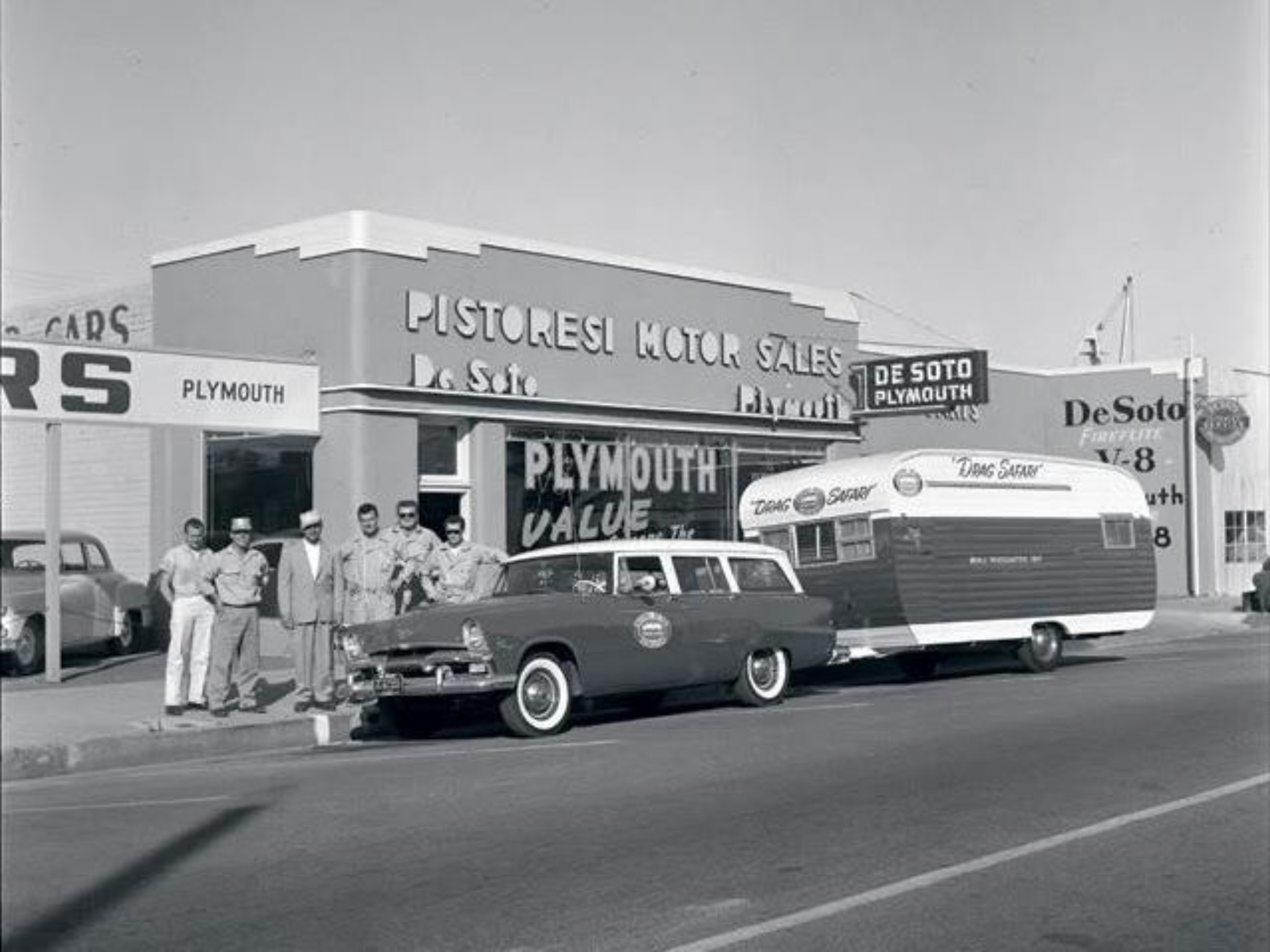 1956 Pistoresi Motor Sales Desoto Plymouth Dealership Madera California Car Dealership Vintage Travel Trailers Vintage Trailers