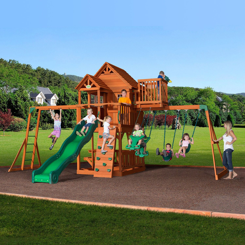 skyfort ii wooden swing set play fort outdoor playset and