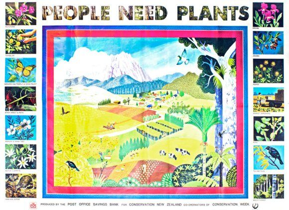 People Need Plants Vintage Poster Produced By The Post Office Savings Bank For Conservation New Zealand