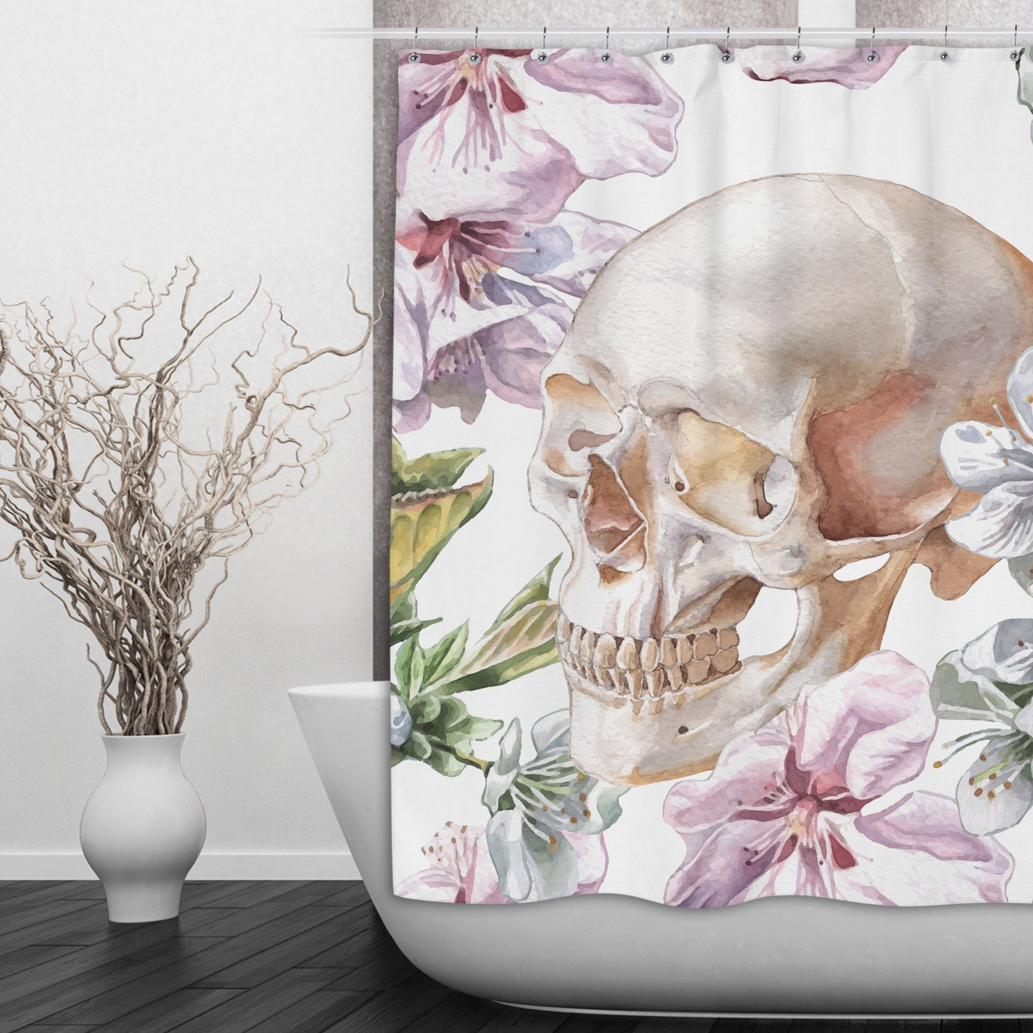 Pink and White Watercolor Flower Skull Shower Curtain
