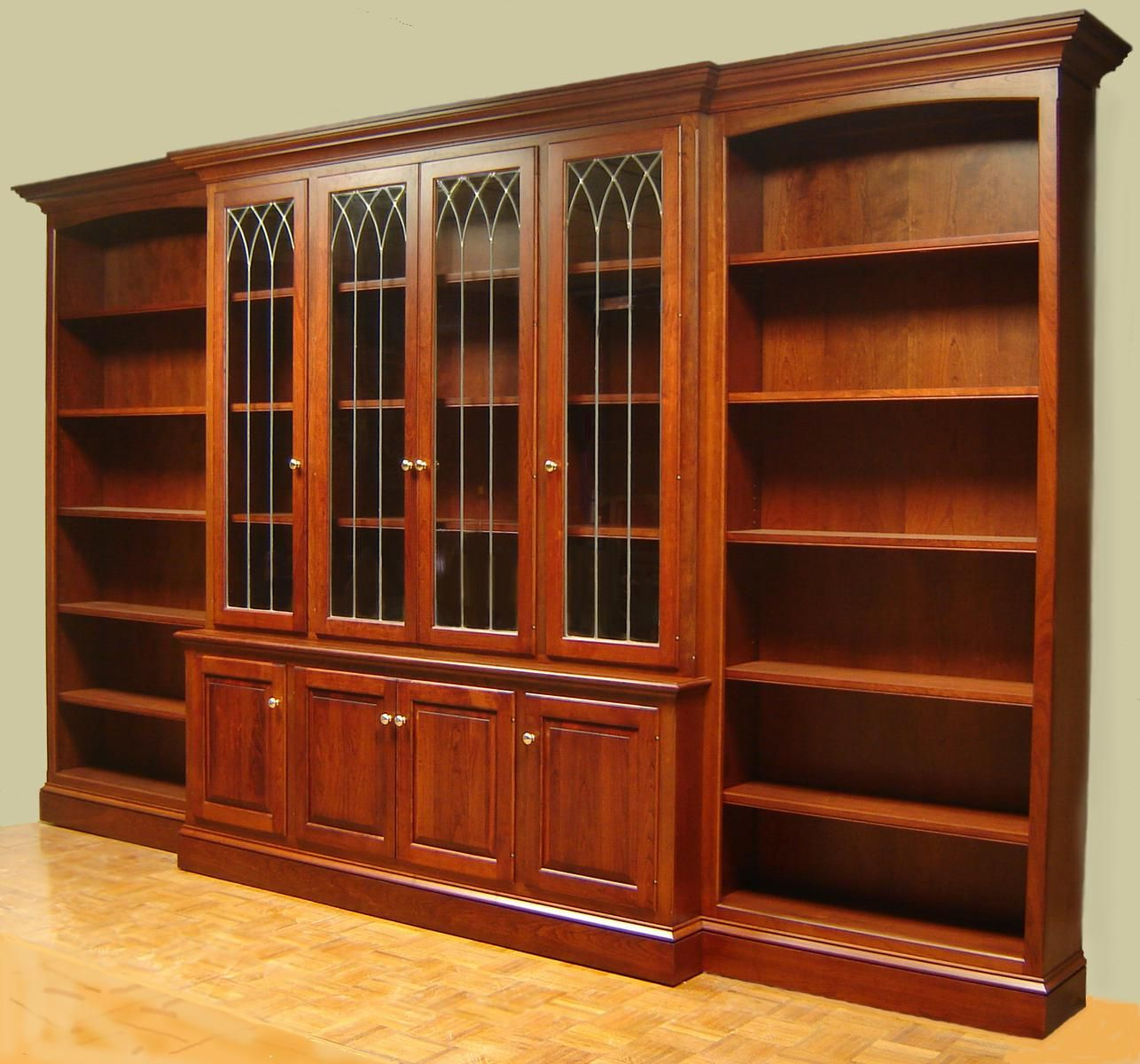Made Cherry Bookcase With Leaded Gl Doors And Open Side Bookcases