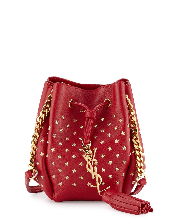 Yves Saint Laurent Monogram Small Star Studded Bucket Bag, Red ...