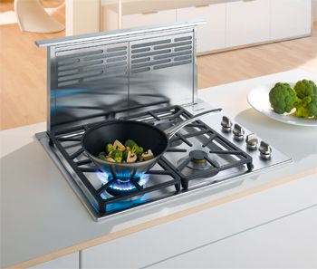 Don T Have Space For A Hood Then Use A Downdraft Ventilation System With Just A Push Of A Button Ventilation Hood Kitchen Ventilation Grey Kitchen Designs