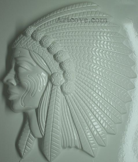 Native American Head Plaster Mold 16-1/4 x 19 Inch  Mix plaster of