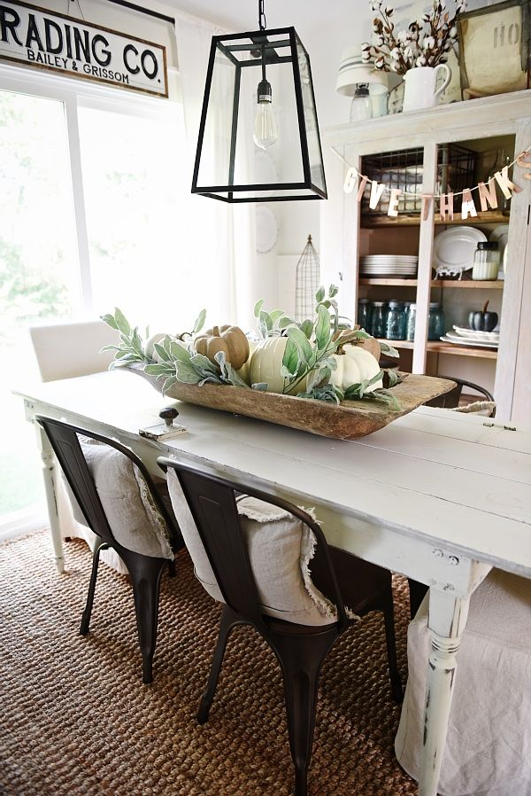 Simple Dough Bowl Fall Centerpiece Dining Room Table Centerpieces Fall Dining Room Dining Room Simple