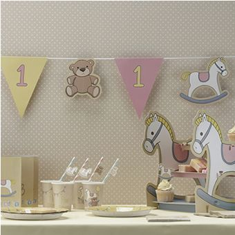 Cute first birthday rock a bye girls pink bunting by ginger ray
