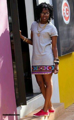 df13f1535 T-dress and sneakers | Ankara Fashion in 2019 | Fashion, African ...