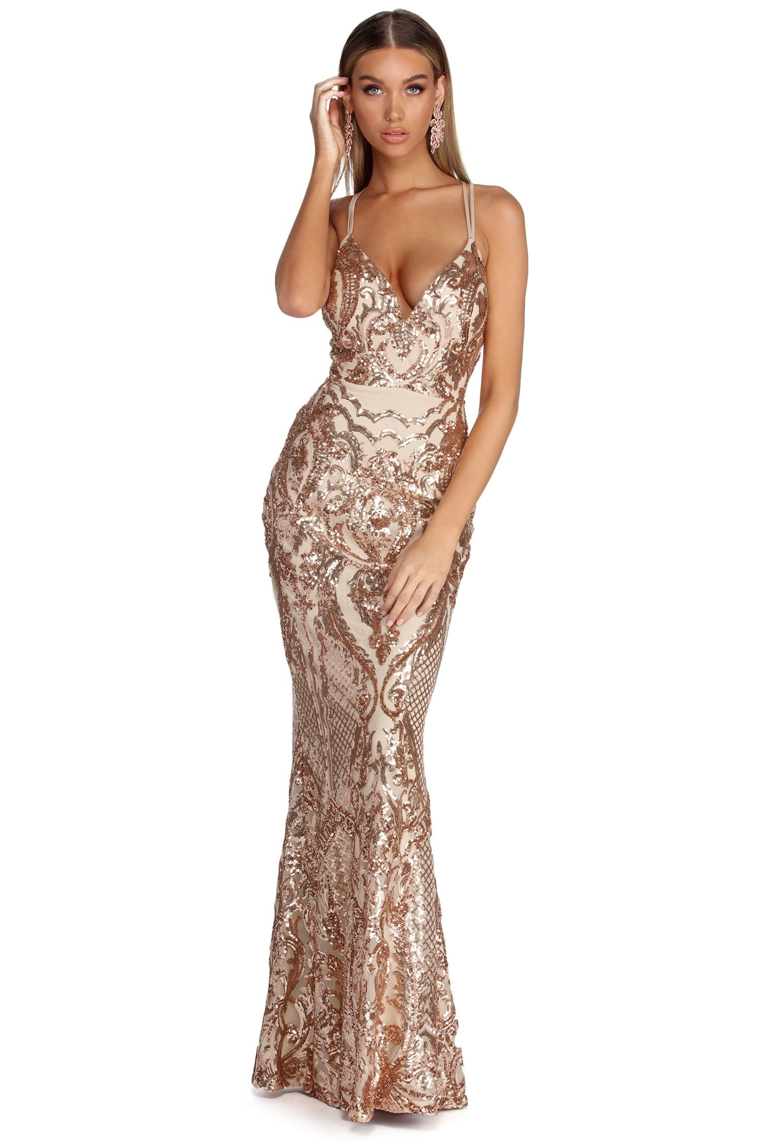 9eb9b4c6bc Julieanne Rose Gold Formal Sequin Scroll Dress