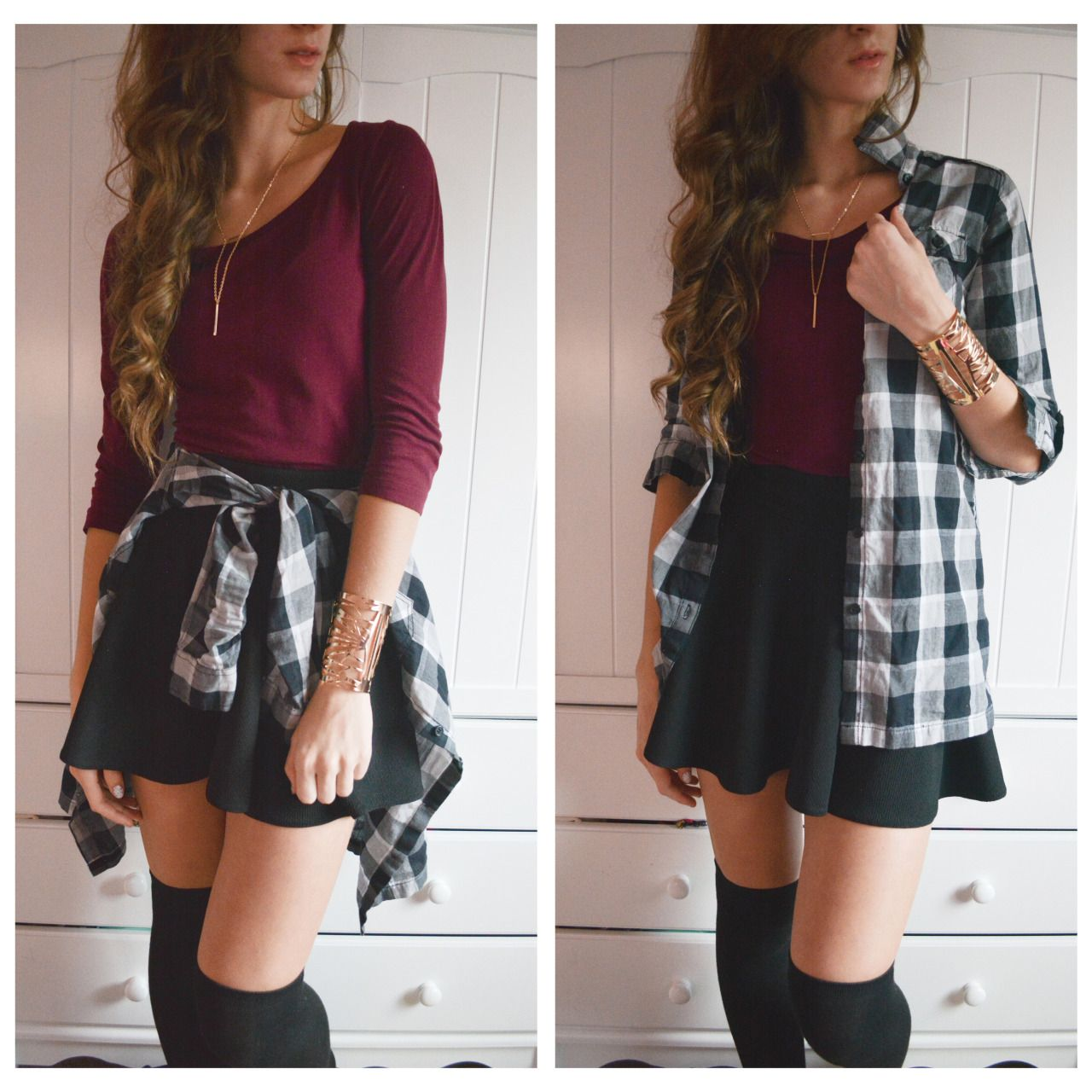 Cliche and simple? Yeah. Comfy and cute? Yeah. An outfit I'd like to try ( plus it has flannel, I'm a little obsessed with it ) •.)